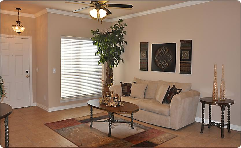 A beautiful shot of a living room at Lansing Place.